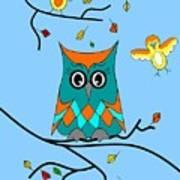 Owl And Birds - Whimsical Art Print