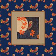 Owl And Moon On Midnight Blue Art Print
