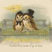 Owl Couple On Bench Art Print