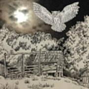 Owl In The Moonlight On Brush Mountain Art Print