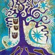 Owls In A Summer Tree Art Print