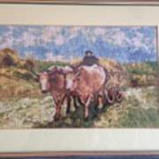 Oxcart After Nicolae Grigorescu Art Print