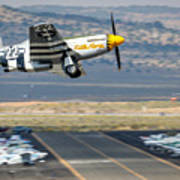 P51 Mustang Little Horse Gear Coming Up Friday At Reno Air Races 16x9 Aspect Signature Edition Art Print
