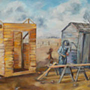 Pa Builds A New Outhouse Art Print