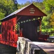 Pa Country Roads - Ebenezer Covered Bridge Over Mingo Creek No. 2a - Autumn Washington County Art Print