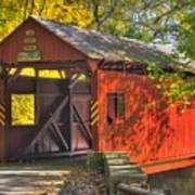 Pa Country Roads - Henry Covered Bridge Over Mingo Creek No. 3a - Autumn Washington County Art Print