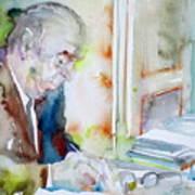 Pablo Neruda - Watercolor Portrait.8 Art Print