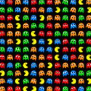 Pacman Seamless Generated Pattern Art Print