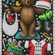 Page 1 Of 2 Teddy Bear Santa Claus Paper Doll Art Print