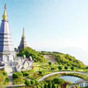 Pagoda On Doi Inthanon, Chiang Mai, Thailand.  Art Print