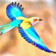 Painted Birds In Skyline Art Print