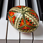 Painted Easter Egg On Piano Keys Art Print
