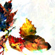 Painted Leaves Abstract 2 Art Print