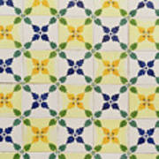 Painted Patterns - Floral Azulejo Tiles In Blue Green And Yellow Art Print