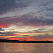Painted Sunset On Gunflint Lake Art Print