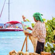 Painter At Work, Holetown Beach, Barbados Art Print