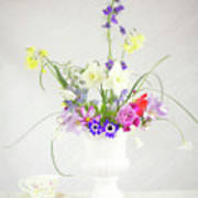 Painterly Homegrown Floral Bouquet Art Print