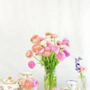 Painterly Ranunculus Tea Time Art Print