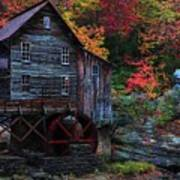 Painting Babcock State Park Glades Creek Grist Mill West Virginia Art Print
