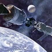 Painting Of Apollo-soyuz Test Project Art Print