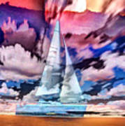 Painting Of Boats In Red Sunset Colors Art Print