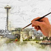 Painting Seattle Art Print