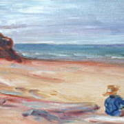 Painting The Coast - Scenic Landscape With Figure Art Print