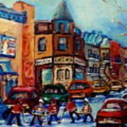 Paintings Of Montreal Hockey On Fairmount Street Art Print