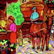 Paintings Of Montreal Streets Old Montreal With Flower Cart And Caleche By Artist Carole Spandau Art Print
