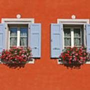 Pair Of Blue Shutters Art Print