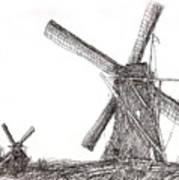Pair Of Windmills 2016 Art Print