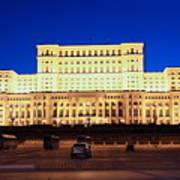 Palace Of Parliament At Night Art Print