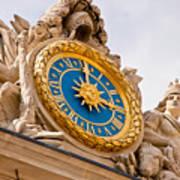 Palace Of Versaille Exterior Clock Art Print