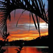 Palm Framed Sunset Art Print