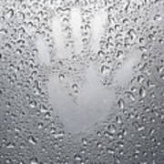 Palm Print On Wet Metal Surface Art Print