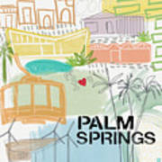 Palm Springs Cityscape- Art By Linda Woods Art Print