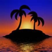 Palm Tree Island Art Print