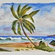Palm Tree Ocean Scene Art Print