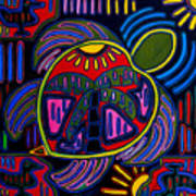 Palm Turtle Mola Art Print