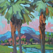 Palms And Coral Mountain Art Print