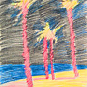 Palms At The Night Art Print