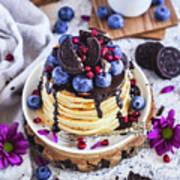 Pancakes With Chocolate Sauce Art Print