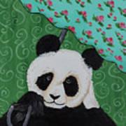 Panda In The Rain Art Print