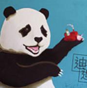 Panda Joy Blue Art Print