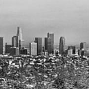 Pano Los Angeles City Black White Art Print