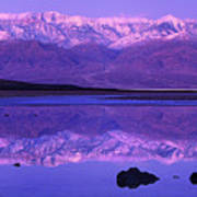 Panorama Badwater And The Panamint Range At Sunrise Death Valley Art Print