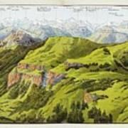 Panorama Drawn From The Rigi Mountain Art Print