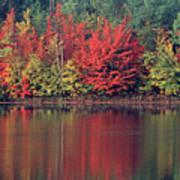 Panorama Fall Color Moccasin Lake Upper Peninsula Mi Art Print