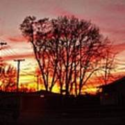 Panorama    Mid Winter Sunset In The City       Indiana Art Print
