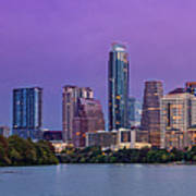 Panorama Of Downtown Austin Skyline From The Lady Bird Lake Boardwalk Trail - Texas Hill Country Art Print